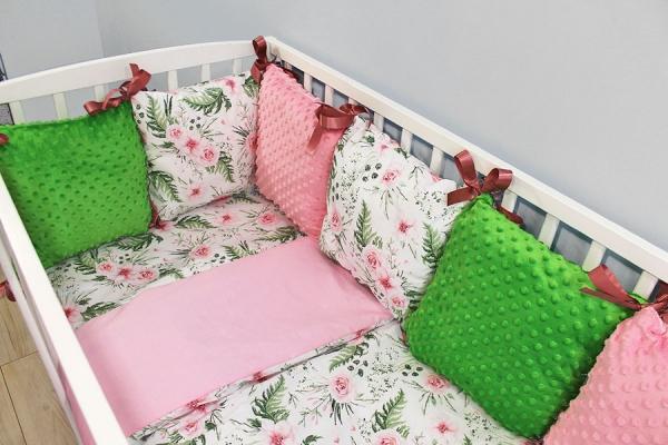 Baby Nellys Polštářkový mantinel minky s povlečením - Květinky, růžová/zelená