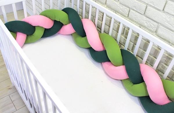 Baby Nellys Mantinel pletený cop - zelená, růžová