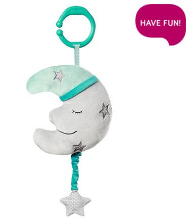 BabyOno Závěsná plyšová hračka s melodií  - Happy Moon