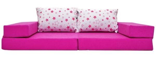 NELLYS Rozkladací dětská pohovka 3 v 1 - P32 - Magic stars - růžové