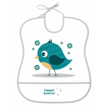 Canpol babies Plastový bryndák s kapsičkou Cute Animals - Ptáček