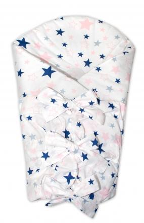 Baby Nellys Klasická šněrovací zavinovačka Hvězdy a hvězdičky - růžová/granát na bílém