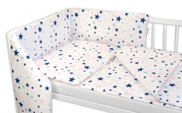 3-dílná sada - mantinel s povlečením Hvězdy a hvězdičky - růžová/granát na bílém