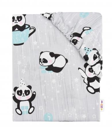 Baby Nellys Dětské bavlněné prostěradlo do postýlky - Happy Panda - mátové