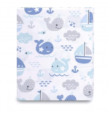Baby Nellys Dětské bavlněné prostěradlo do postýlky - Oceán Baby