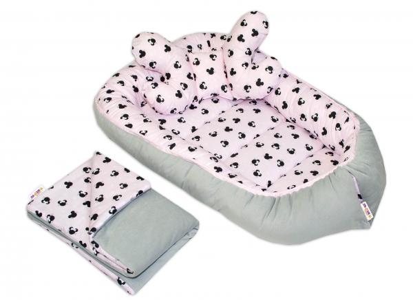 Sada komplet, oboustranné hnízdečko Baby Nellys Velvet, 55 x 85 cm, Minnie růžové/šedé