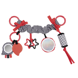 Canpol Babies Závěsná plyšová hračka s rolničkou a zrcátkem Sensory Toys - červená