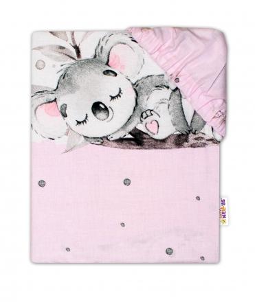 Baby Nellys Dětské bavlněné prostěradlo do postýlky - Medvídek Koala, růžové