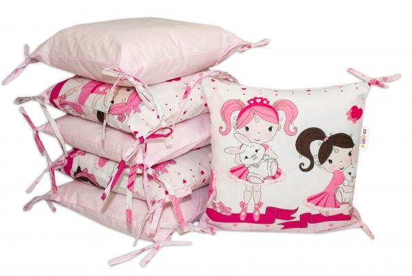 Bavlněný polštářkový mantinel Baby Nellys Princess - růžový