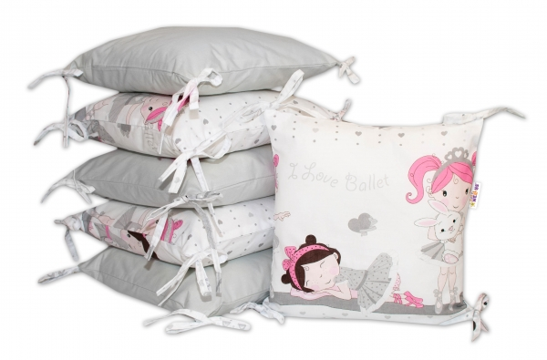 Bavlněný polštářkový mantinel Baby Nellys Princess - šedý