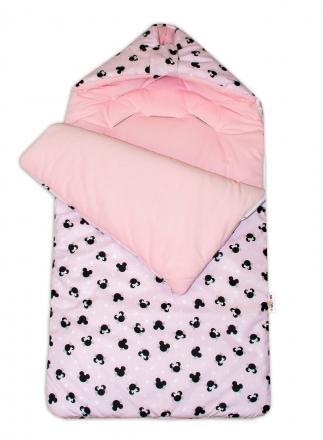 Bavlněný fusak Baby Nellys, velvet, Minnie, 47 x 95 cm - růžový/růžový