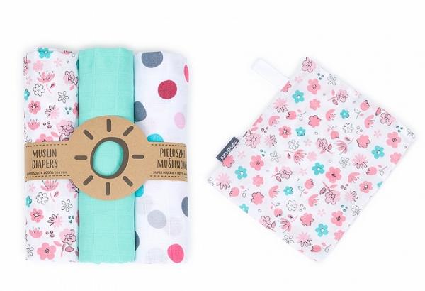 Mamo Tato Mušelínové plenky 3ks + žínka zdarma - puntíky big, máta, květinky