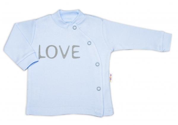 Baby Nellys Bavlněná košilka Love zapínání bokem - modrá