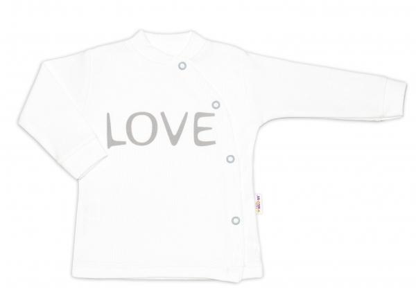 Baby Nellys Bavlněná košilka Love zapínání bokem - bílá