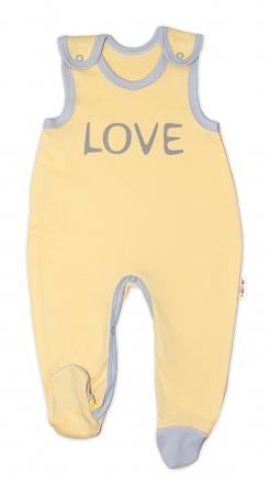 Kojenecké bavlněné dupačky Baby Nellys, Love - žluté
