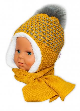 BABY NELLYS Zimní čepička s kožíškem a šálou - hořčicová