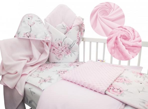 Baby Nellys 6-ti dílná výhodná sada s dárkem pro miminko, 120 x 90 cm - Plameňák růžový