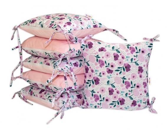 Polštářkový mantinel Baby Nellys, Zahradní kvítka - velvet + bavlna, růžová