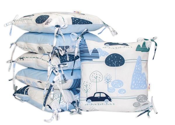 Polštářkový mantinel Baby Nellys - Auta v aleji - velvet + bavlna, modrá
