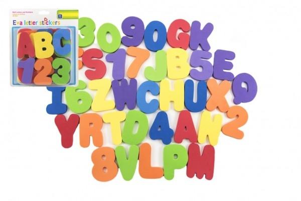Pěnová písmena a číslice vodolepky 8cm na kartě