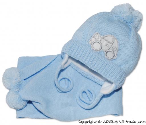 BABY NELLYS Zimní čepička s šálou - Autíčko sv. modré