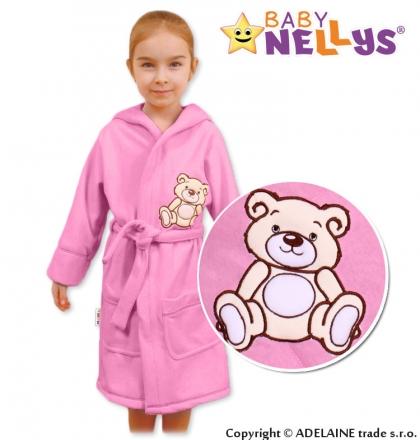 Baby Nellys Dětský župan - Medvídek Teddy Bear - sv. růžový