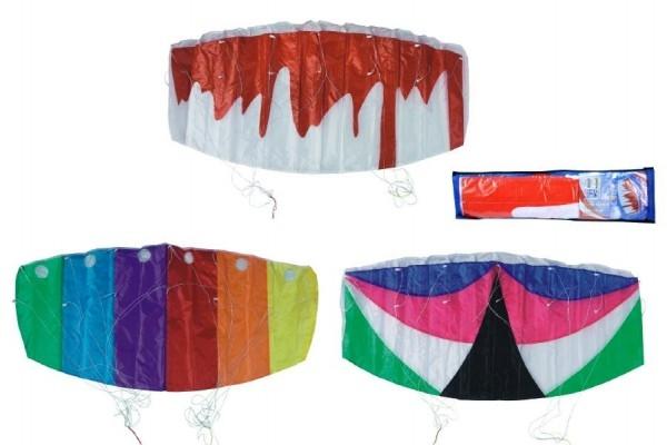 Drak létající padák nylon 120x55cm asst 3 barvy v sáčku