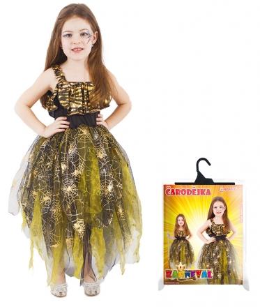 Dětský kostým Čarodějnice/Halloween zlatý (S)