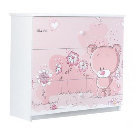 BabyBoo Dětská komoda - Medvídek STYDLÍN růžový, D19