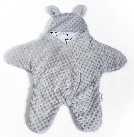 Baby Nellys Fusák, spacáček, kombinézka do autosedačky nebo kočárku s oušky, minky - šedý