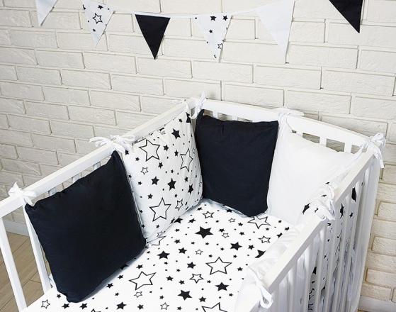 Baby Nellys Polštářkový mantinel s povlečením - hvězdičky, černá/bílá