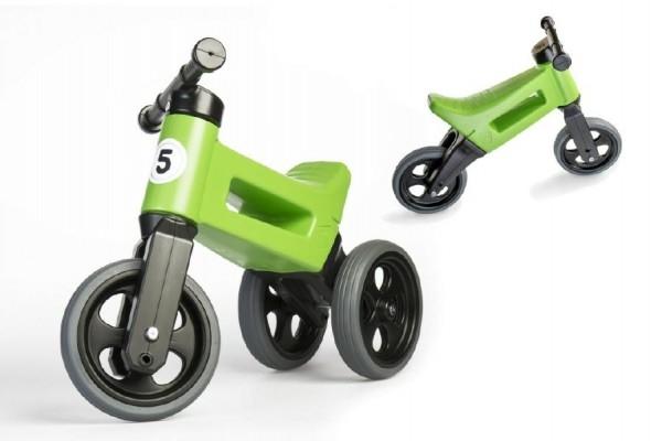Odrážedlo zelené FUNNY WHEELS 2v1 výška sedadla nastavitelná 28/31cm nosnost 50kg 18m