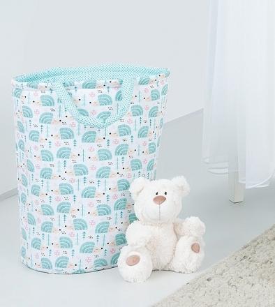 Mamo Tato Box na hračky - oboustranný, ježek tyrkys / mini tečky tyrkys