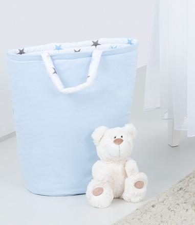 Mamo Tato Box na hračky - oboustranný, sv. modrá / hvězdičky šedé a modré D