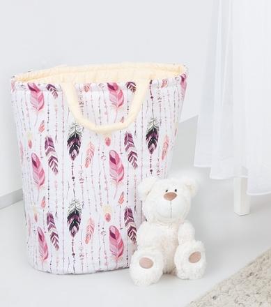 Mamo Tato Box na hračky - oboustranný, růžové peří / krémový