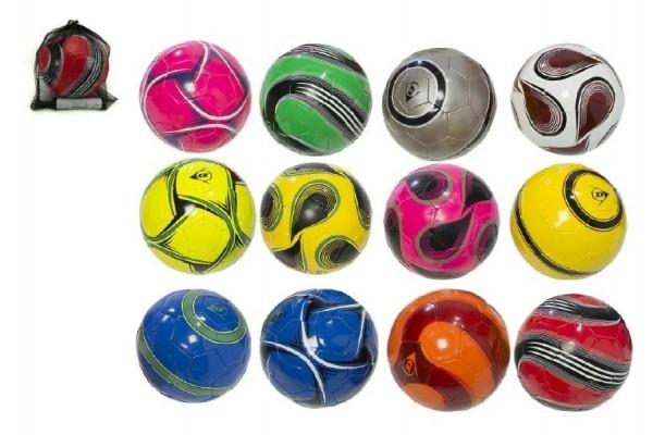 Míč fotbalový s pumpičkou 22cm Dunlop vel. 5 šitá kůže asst mix barev v síťce