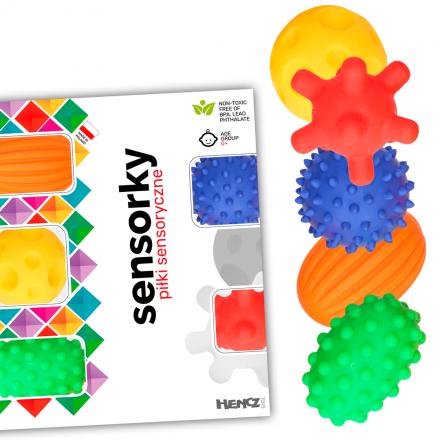 Hencz Toys Edukační barevné míčky/ježečci, 5ks v krabičce