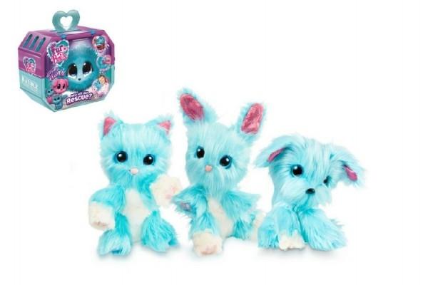 Zvířátko FUR BALLS plyš Touláček pejsek/kočka/králík modrý s doplňky v krabici 24x20x