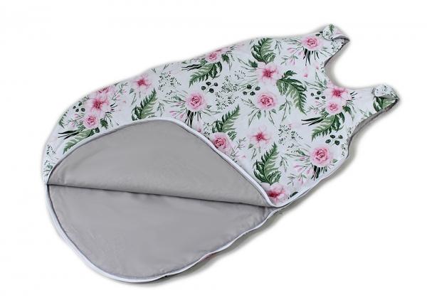 Baby Nellys Bavlněný spací vak Květinky - bílý, 48x80cm