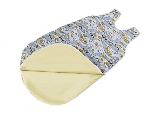 Baby Nellys Bavlněný spací vak Stroje - šedý, 48x80cm
