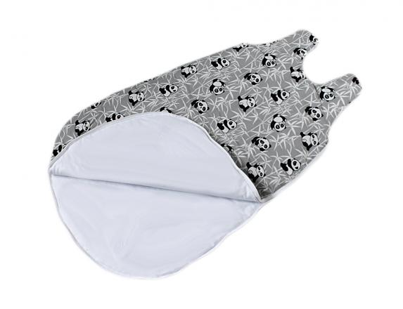 Baby Nellys Bavlněný spací vak Panda - šedý, 48x80cm