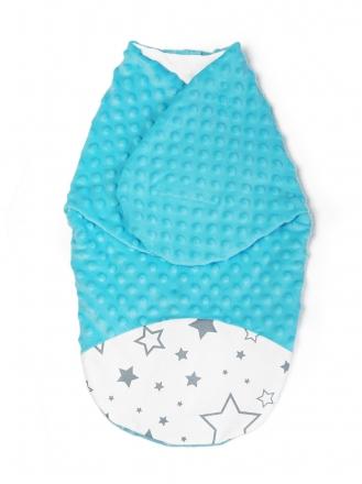 Baby Nellys Zavinovačka, spacáček s minky, 0-6m - Hvězdy a hvězdičky, minky tyrkys
