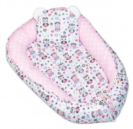 Baby Nellys Oboustranné hnízdečko, kokon  60x90cm - Sovičky/puntíky - růžová