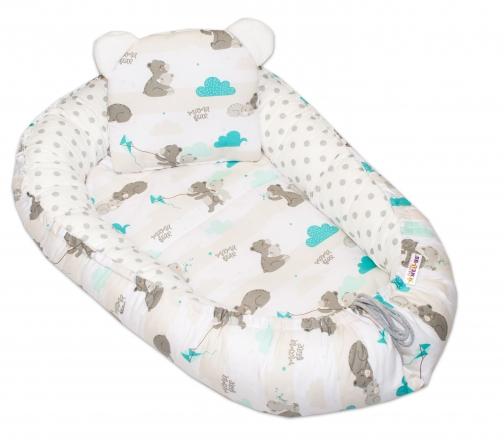 Baby Nellys Oboustranné hnízdečko, kokon  60x90cm - Medvídek velké puntíky - mátová/bílá
