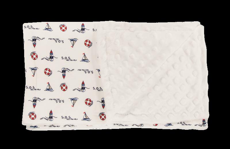 Dětská deka, dečka Maják, 80x90 - Minky/bavlna, bílá