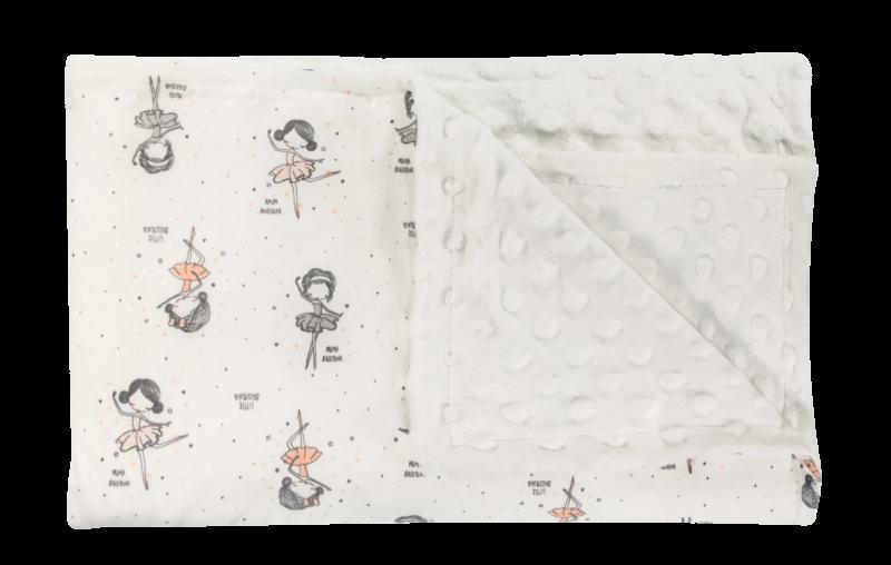 Dětská deka, dečka Baletka, 75x90 - Minky/bavlna, bílá
