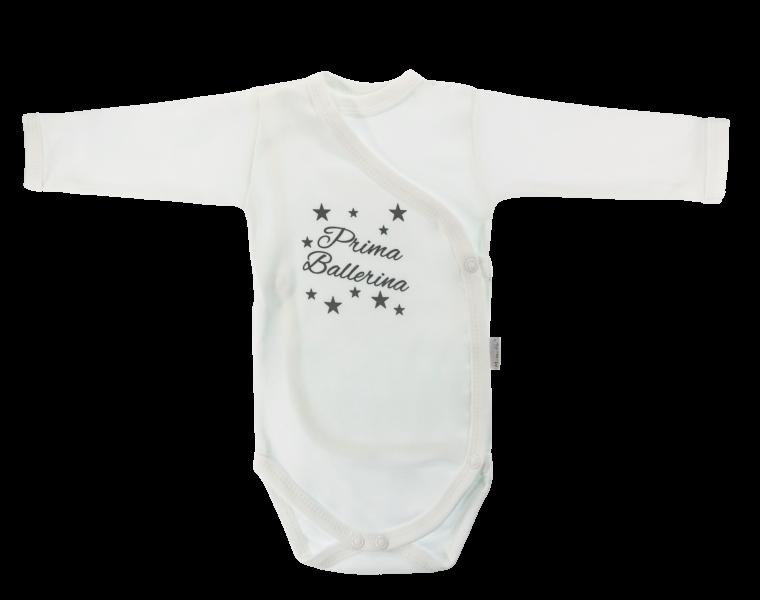 Body Baletka - dl. rukáv - zapínání bokem, bílé s nápisem, Velikost: 56 (1-2m)