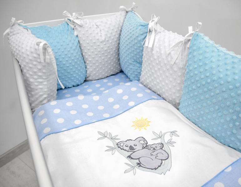 Polštářkový mantinel s Minky s povlečením s vyšívkou  - modrá,bílá,tečky - Koala.