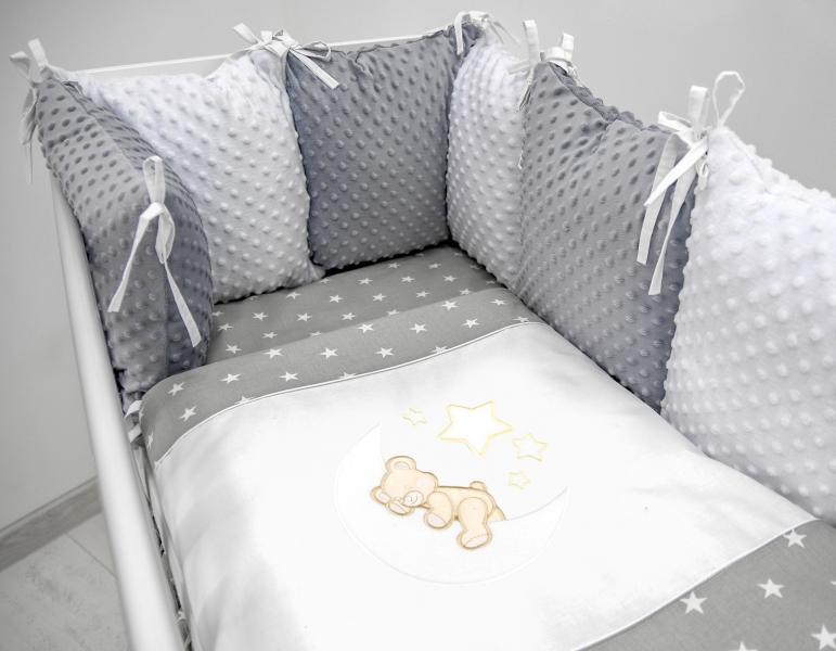 Polštářkový mantinel s Minky s povlečením s vyšívkou  - šedá,bílá,hvězdičky - Měsíček