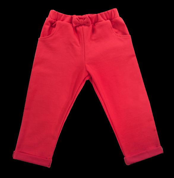 Bavlněné tepláčky s mašličkou a kapsami Baletka, červené, Velikost: 74 (6-9m)